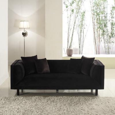 Black Velvet MidCentury Modern Sofa