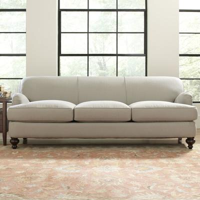 Good Brown Turned Legs Off White Sofa