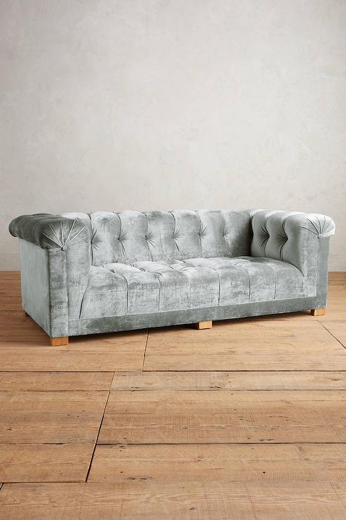 Gray Velvet Petite Chesterfield Sofa