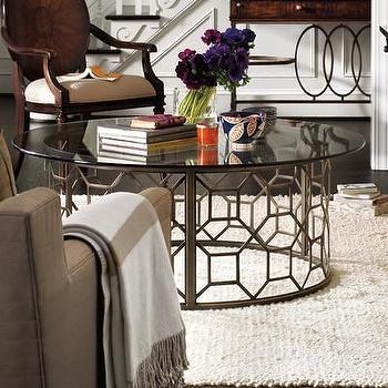 Antique Brass Octagonal Design Glass Top Coffee Table
