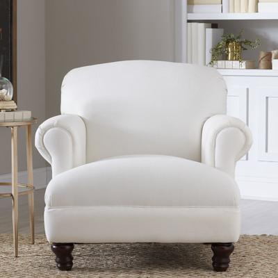 White Roll Arm Brown Turned Legs Chair