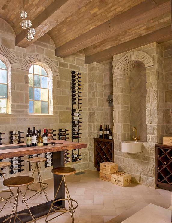Basement stone wine cellar with barrel ceilings for Barrel ceiling ideas