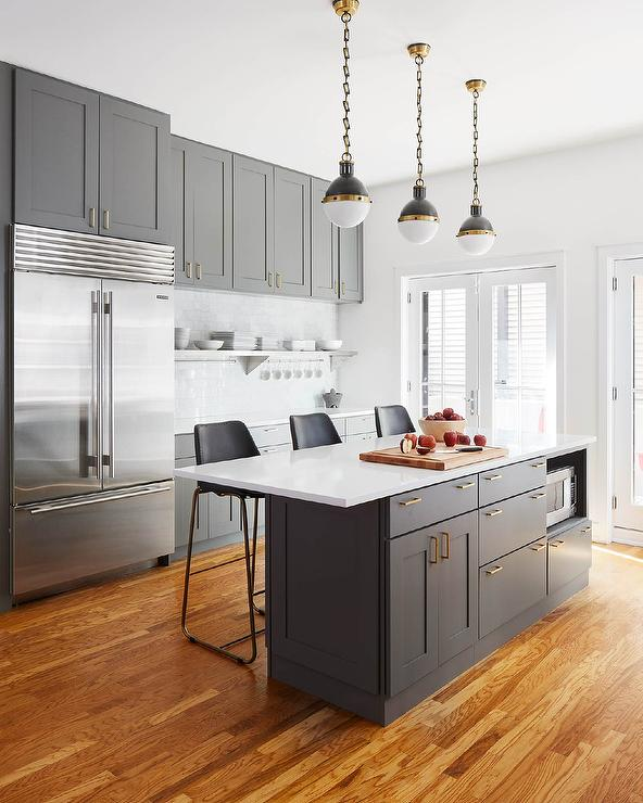 Charcoal Gray Kitchen with Sub Zero Refrigerator  Transitional