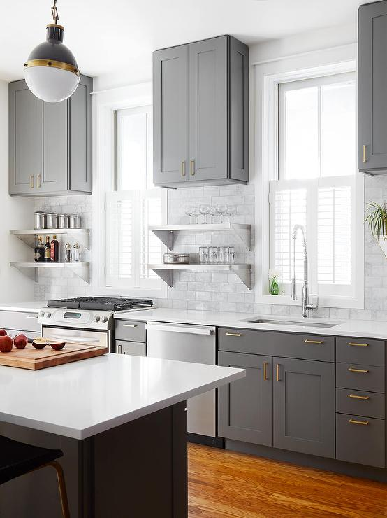 Gray Shaker Kitchen Cabinets With Engineered White Quartz
