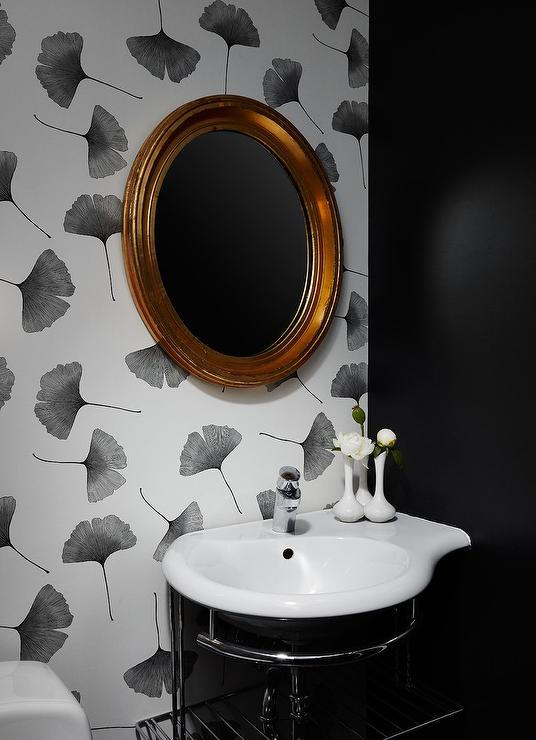 Black And Gold Powder Room With Ellie Cashman Dark Floral