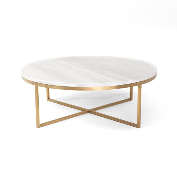 White Marble Coffee Table Set: White Round Marble Gold Base Coffee Table