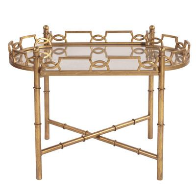 Geometric Gold Tray Antique Mirrored Top End Table