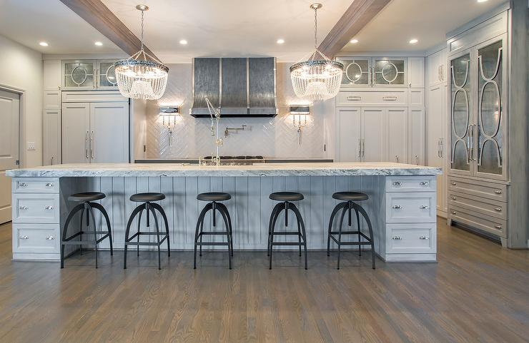 Gray Center Island With Vapor Counter Stools Transitional Kitchen