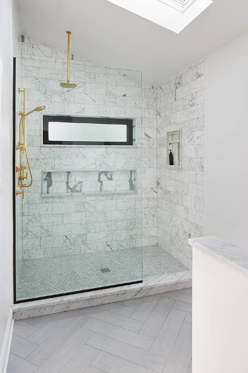 Spa Like Shower With Pebble Floor Transitional Bathroom