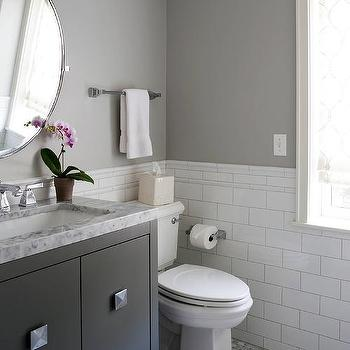 Cahill Design Build White And Gray Bathroom With Black Washstand