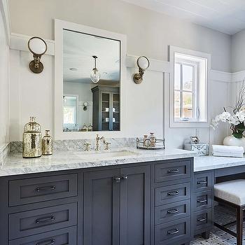 black sink vanity with boston head light wall sconces