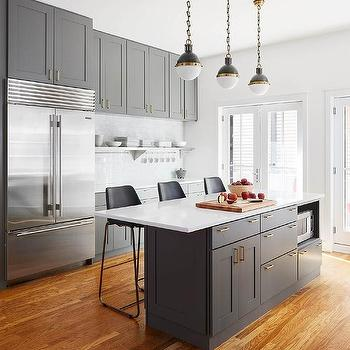 Charcoal gray island cabinets with small hicks pendants for Charcoal gray kitchen cabinets
