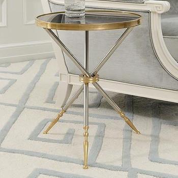 Brass Tripod Base Granite Top End Table