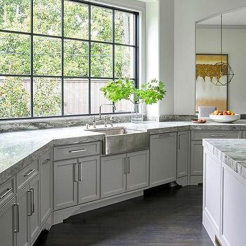 Light Gray Kitchen Cabinets With Hammered Stainless Steel Apron Sink