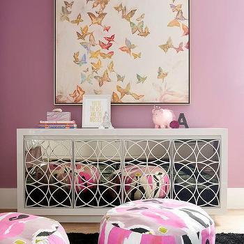Elizabeth Jardine Butterfly Art Over White Mirrored Credenza Cabinet