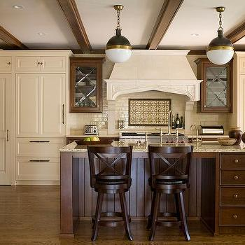 Dark Brown Cabinets With Gold Pulls Transitional Kitchen