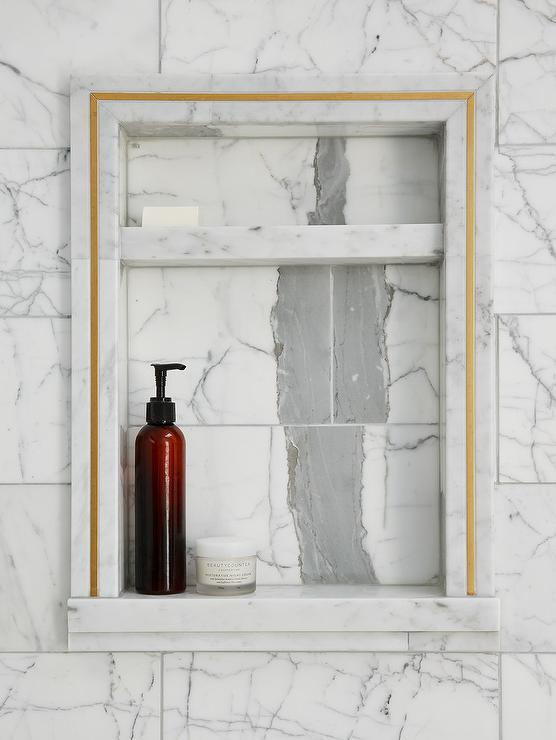 Marble Tile Shower Niche with Gold Trim - Transitional - Bathroom