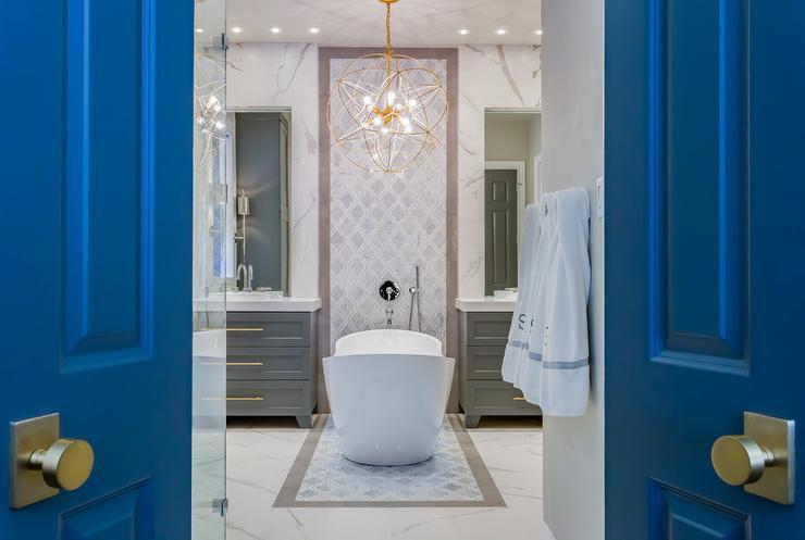 Blue Bi Fold Bathroom Doors with Brushed Brass Door Knobs ...