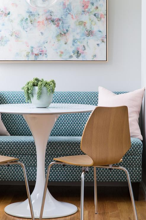 Blue And Pink Abstract Art With Dining Banquette