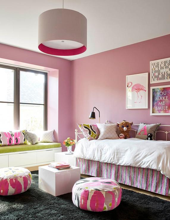 pink girl bedroom with white metal daybed