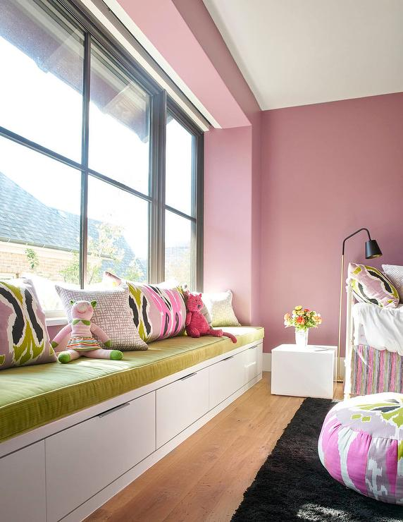 Pink Girl Bedroom with Lime Green Window Seat - Contemporary ...