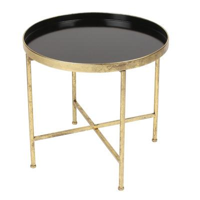 Wonderful Black And Gold Round Tray End Table