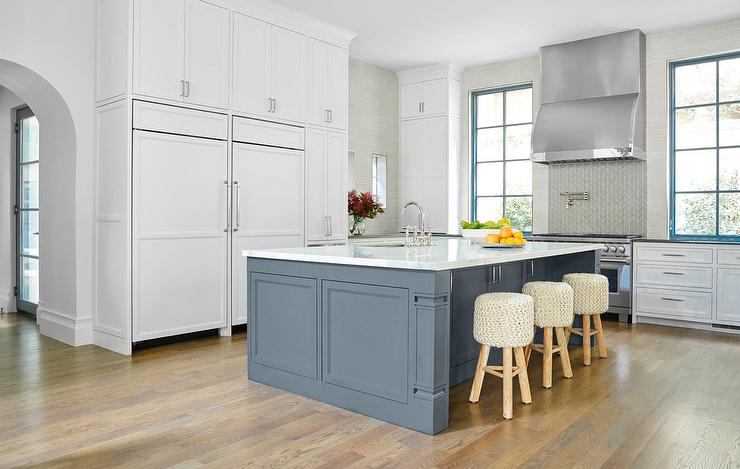 White And Gray Kitchen With Slate Blue Center Island