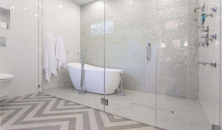 Bathtub in Large Walk In Shower - Transitional - Bathroom