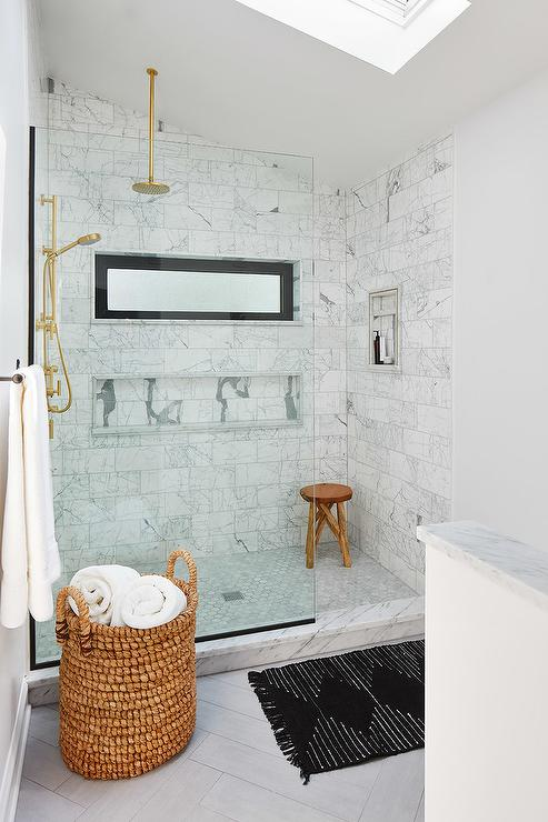 Walk In Shower With Sloped Ceiling And Gray Tiles
