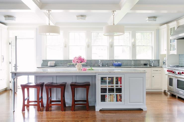 Gray kitchen island with gray granite countertop - Light blue and white kitchen ...