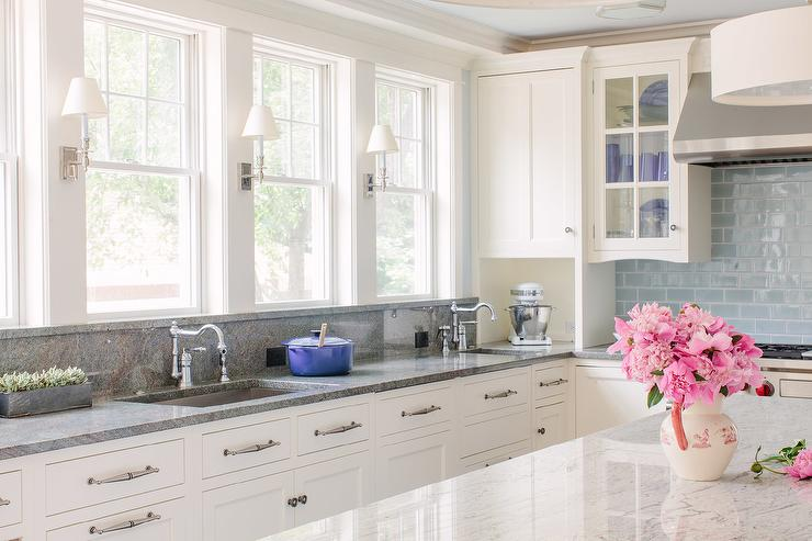 White Kitchen Cabinets With Gray Granite Countertops And Backsplash