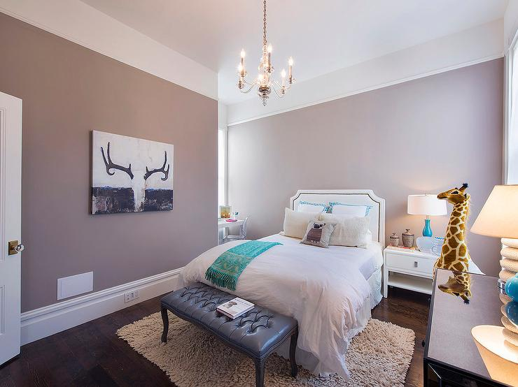 White and Mauve Teen Girl Bedroom with Desk Nook ...