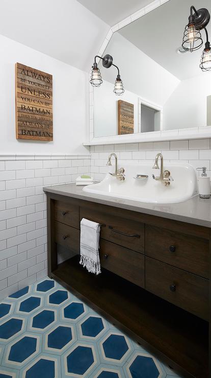 Navy Blue Claw Foot Bathtub Transitional Bathroom