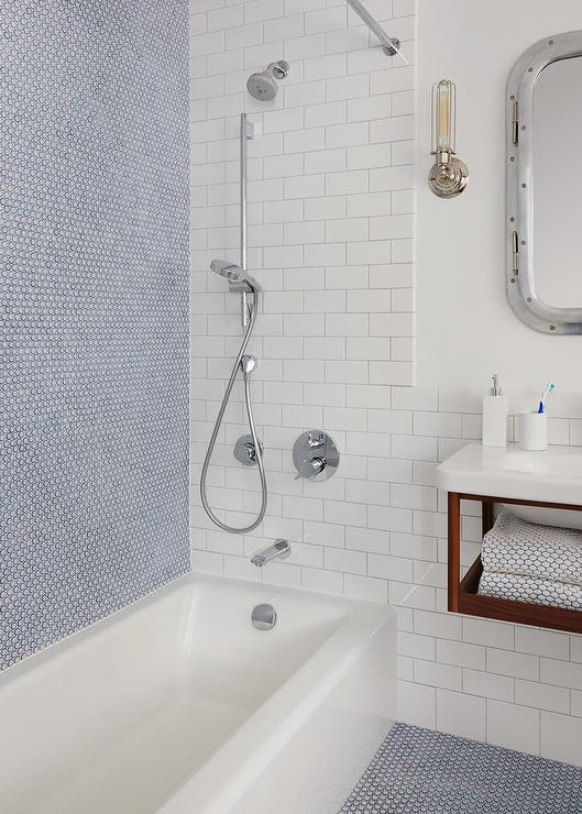 Boy Bathroom With Blue Penny Shower Wall Tiles