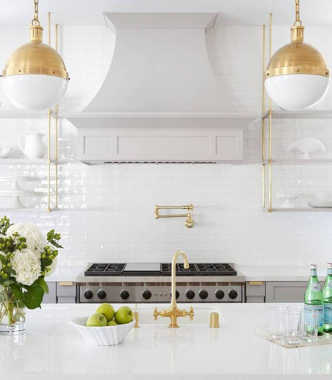 Gray and Gold Kitchen with Marble and Brass Wall Shelves