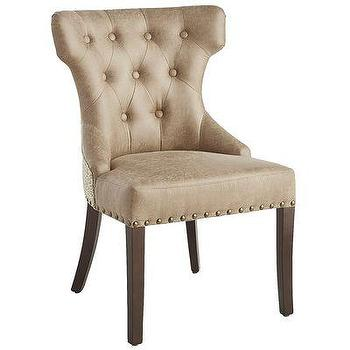 Delicieux Hourglass Beige Button Tufted Cheetah Print Dining Chair
