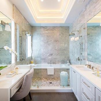 Gray Master Bathroom With White Marble Herringbone Floor Transitional Bat
