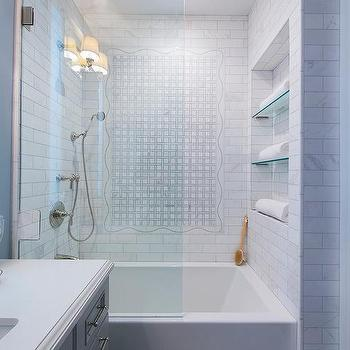 Marble subway tiled tub with glass shower partition - Bathroom glass partition designs ...