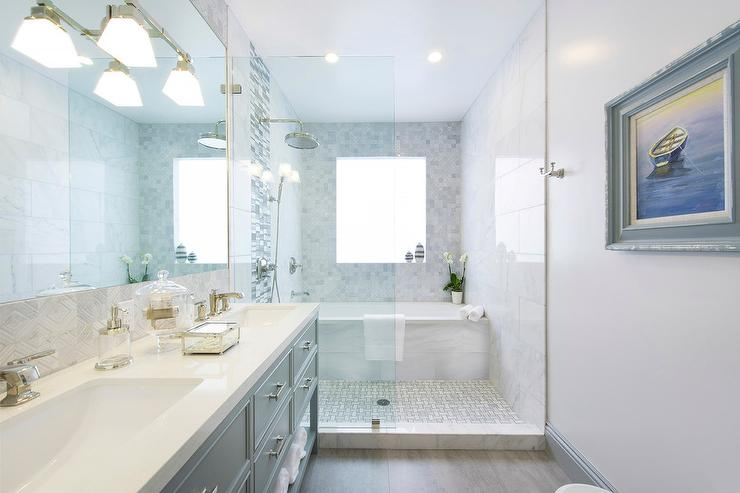 Bathroom With White Herringbone Floor Tiles Transitional Bathroom