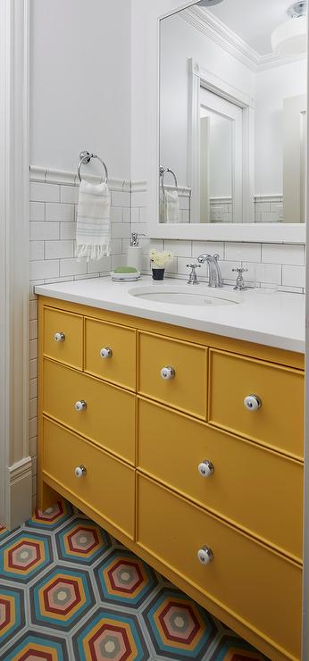 Mustard Yellow Bath Vanity With Blue And Orange Hex Tiles Contemporary Bathroom