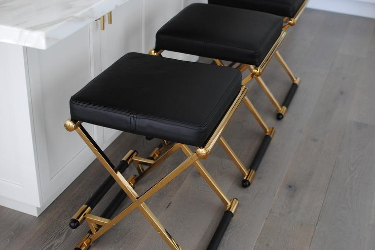 Brass Barstools With Black Seat Cushions