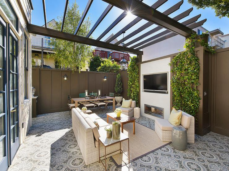 Backyard with Gray Pergola and Gray Privacy Fence - Backyard With Gray Pergola And Gray Privacy Fence - Transitional