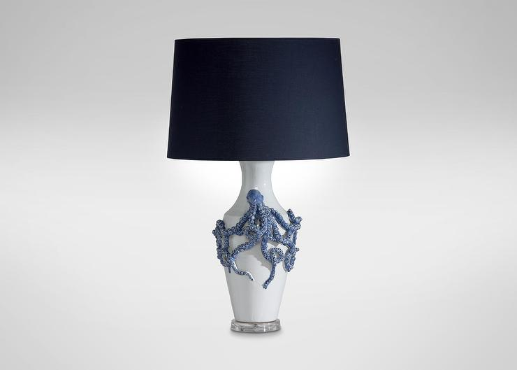 and White Sculptural Octopus Table Lamp