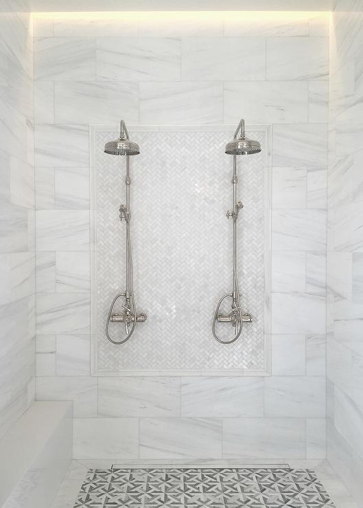 White Marble Herringbone Shower Tiles With His And Hers
