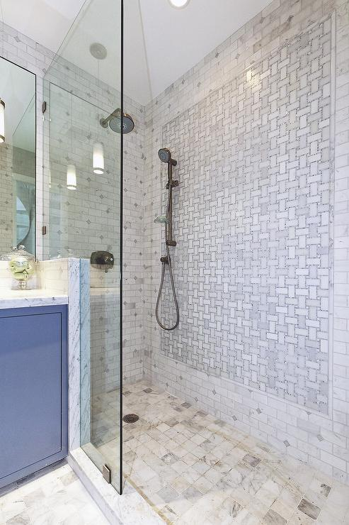 Walk In Shower With Marble Basketweave Tiles Transitional Bathroom