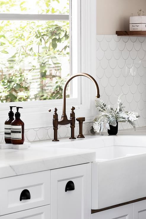 White Kitchen with White Fish Scale Tile Backsplash Transitional