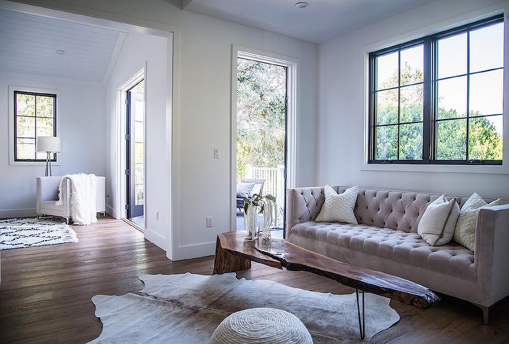 Gray Velvet TUfted Sofa With LIve Edge Wood Coffee Table