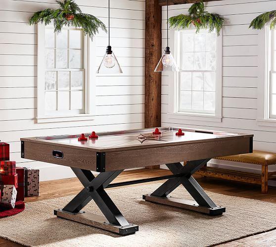 Brown Wooden Black X Base Air Hockey Table
