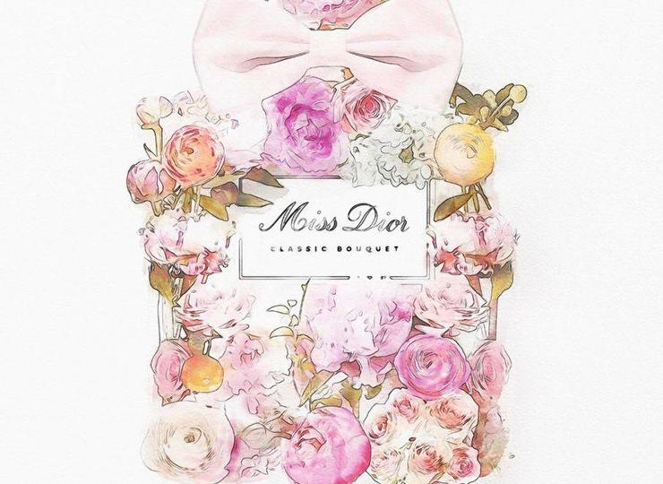 Pink Floral Dior Perfume Bottle Art