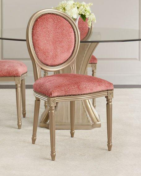 Brand-new Pink Upholstered Silver Frame Dining Chair UY02
